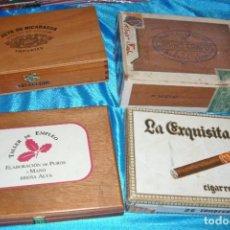 Cajas de Puros: CAJAS DE PUROS 4-GABINO CAMPOS-JOYA NICARAGUA-LA EXQUISITA-BREÑA ALTA- VACIAS - LEER. Lote 206116266