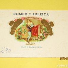 Cajas de Puros: ANTIGUA HABILITACIÓN BOCETÓN DE TABACOS CUBA HABANA ROMEO Y JULIETA LITOGRAFIADA DORADA. Lote 206877973