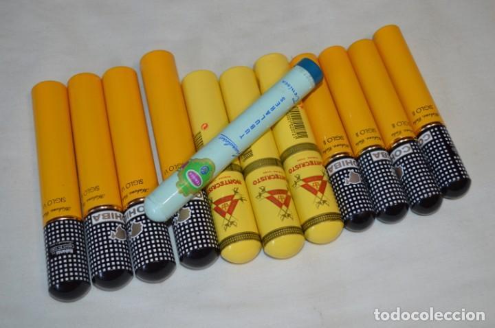 COHIBA / SIGLO VI Y II - MONTECRISTO Y TENISCA - 12 PURERAS / ESTUCHES -- VACIOS / ALUMINIO - ¡MIRA! (Coleccionismo - Objetos para Fumar - Cajas de Puros)