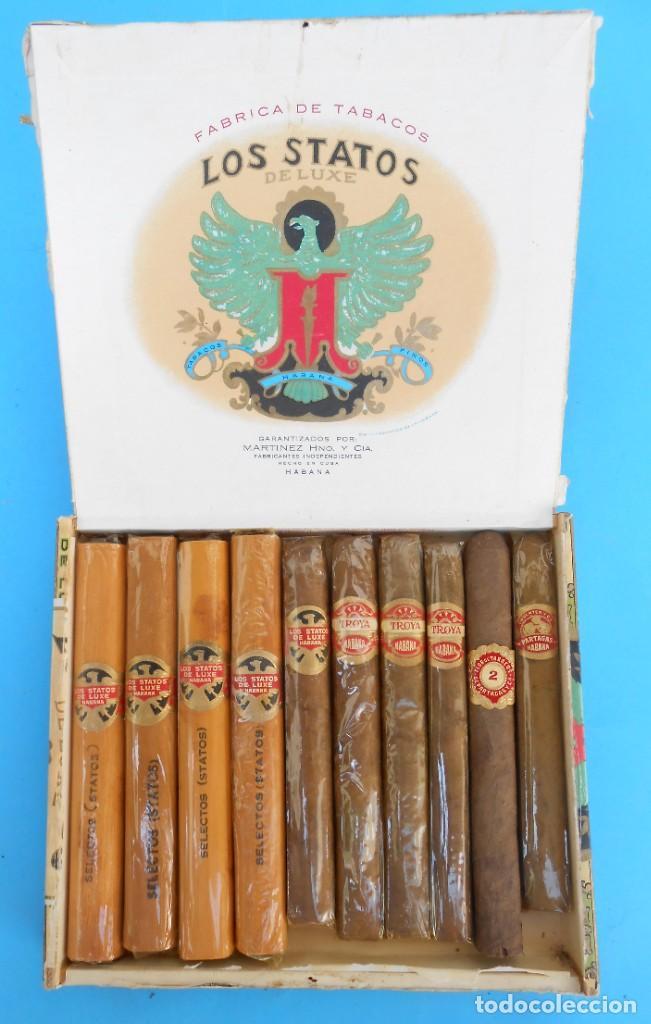 CAJA DE PUROS LOS STATOS HABANA. CON 10 PUROS TODOS HABANOS. CON SU ENVOLTORIO ORIGINAL (Coleccionismo - Objetos para Fumar - Cajas de Puros)