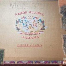 Cajas de Puros: ANTIGUA CAJA DE PUROS RAMON ALLONES DOUBLE CLARO HABANA CUBA. Lote 210954324