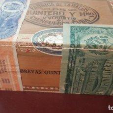 Cajas de Puros: ANTIGUA CAJA DE PUROS QUINTERO Y HNOS 14 BREVAS CUBA PRE EMBARGO. Lote 210964986
