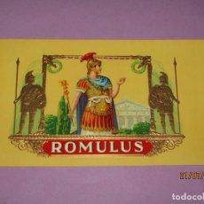 Cajas de Puros: ANTIGUA HABILITACIÓN EN LITOGRAFÍA Y ORO DE TABACOS CIGARROS PUROS ROMULUS. Lote 212611560