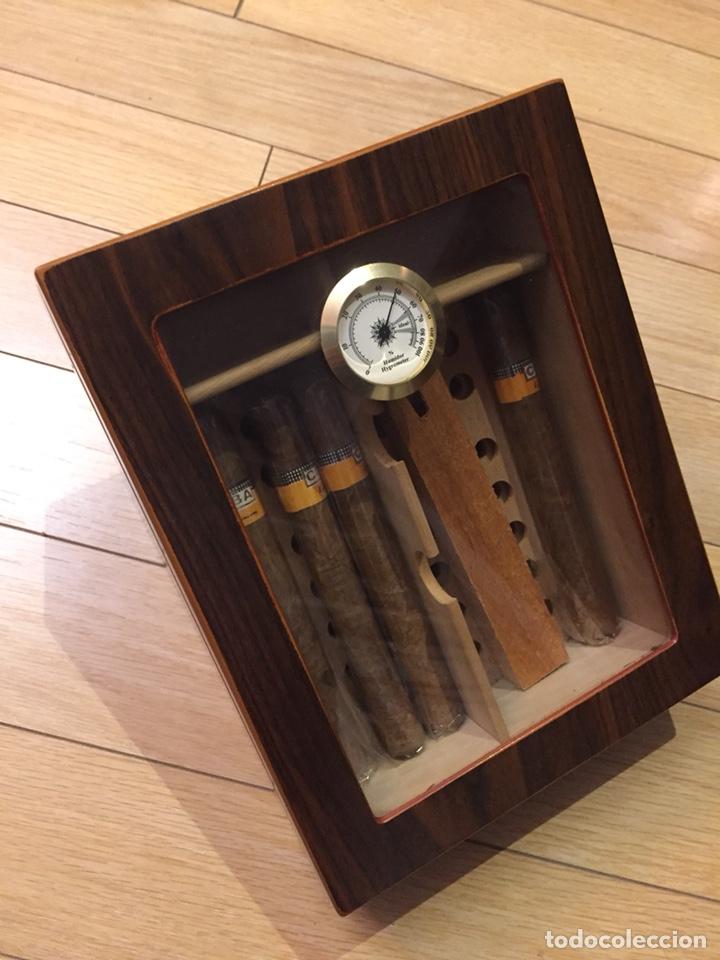 CAJA DE PUROS CON HIGRÓMETRO Y HUMIFICADOR. (Coleccionismo - Objetos para Fumar - Cajas de Puros)
