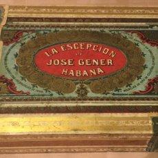 Cajas de Puros: CAJA PUROS HABANOS LA ESCEPCION DE JOSE GENER HABANA CUBA HAVANA PRE REVOLUCION ETIQUETAS AÑOS 50 BE. Lote 216816761