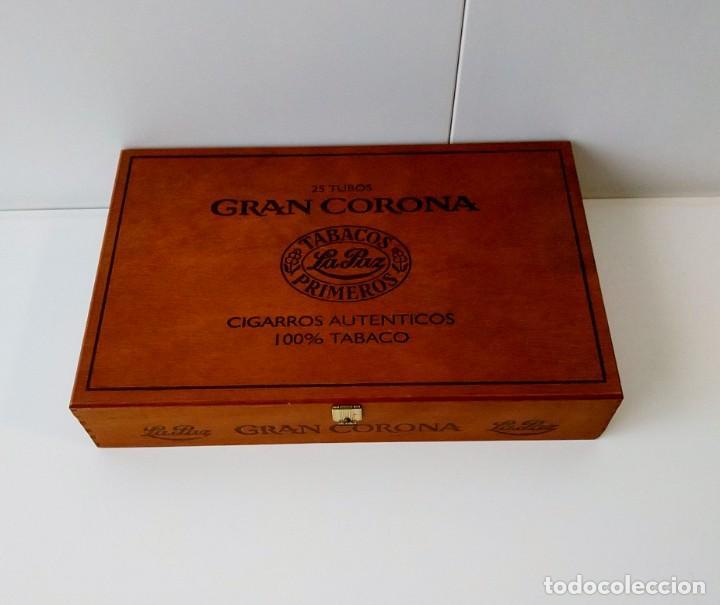 BONITA CAJA DE MADERA DE PUROS GRAN CORONA,VACÍA (Coleccionismo - Objetos para Fumar - Cajas de Puros)