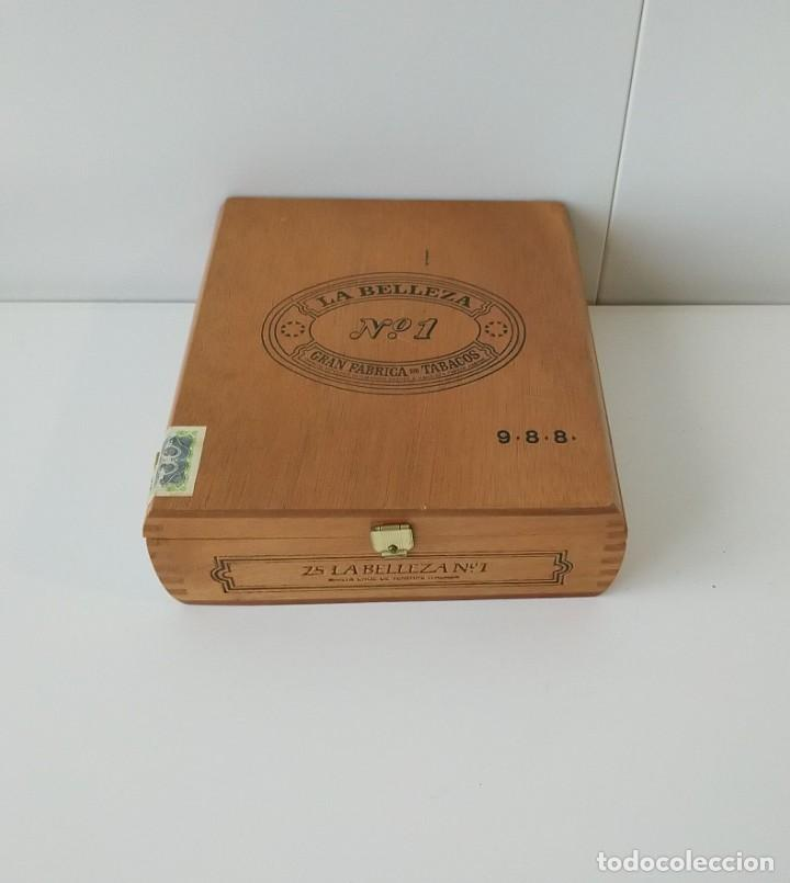 BONITA CAJA DE PUROS VACÍA, LA BELLEZA Nº 1, CON CERTIFICADO DE GARANTIA (Coleccionismo - Objetos para Fumar - Cajas de Puros)