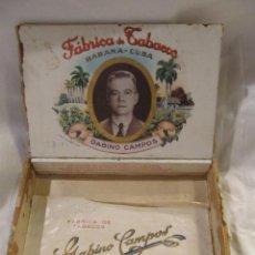 Cajas de Puros: CAJA DE PUROS EN MADERA VACIA - GABINO CAMPOS - HABANA CUBA. Lote 221582410