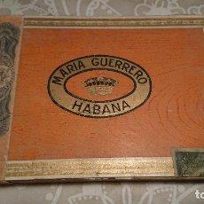 Cajas de Puros: ANTIGUA CAJA DE PUROS DE MADERA MARCA MARIA GUERRERO HABANA AÑOS 50-60. Lote 222376863