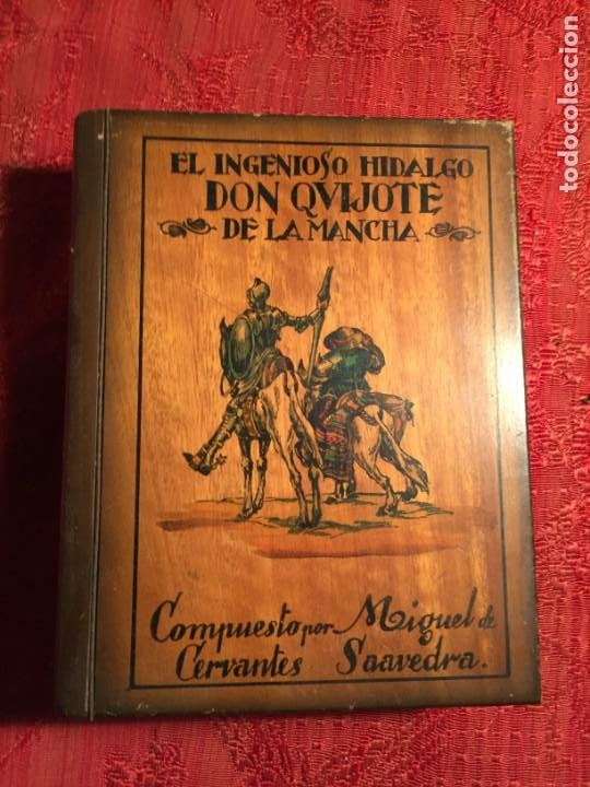 ANTIGUA CAJA DE MADERA EL HINGENIOSO HIDALGO DON QUIJOTE DE LA MANCHA PARA PUROS AÑOS 60-70 (Coleccionismo - Objetos para Fumar - Cajas de Puros)
