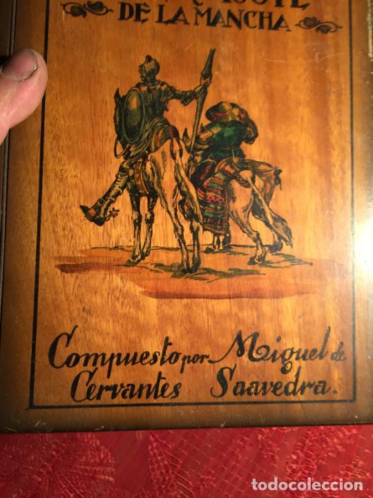 Cajas de Puros: Antigua caja de madera el hingenioso hidalgo Don Quijote de la Mancha para puros años 60-70 - Foto 4 - 224397537