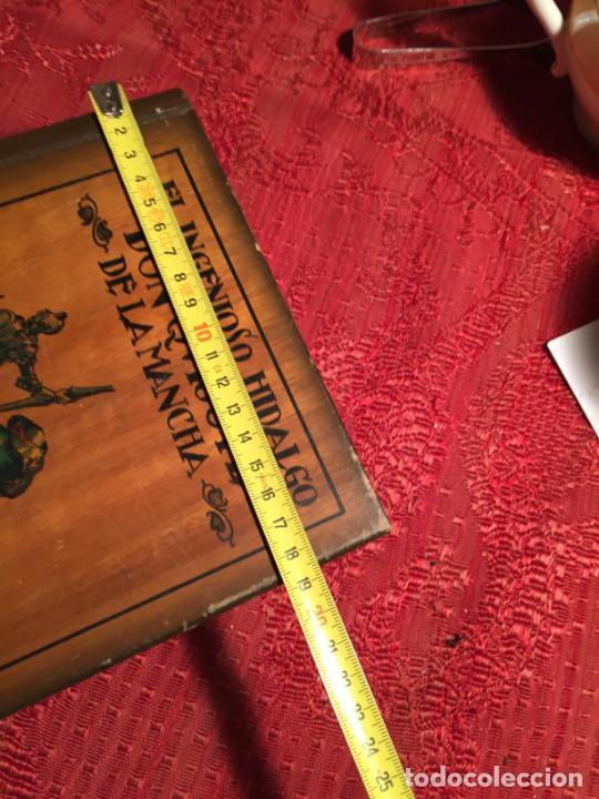 Cajas de Puros: Antigua caja de madera el hingenioso hidalgo Don Quijote de la Mancha para puros años 60-70 - Foto 10 - 224397537