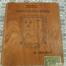Cajas de Puros: ANTIGUA CAJA DE PUROS MADERA - COMPAÑIA DE TABACOS DE LAS ANTILLAS S.A. - 25 1866 - TABACO. Lote 227712480