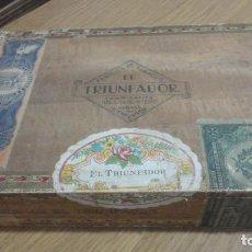 Cajas de Puros: ANTIGUA CAJA PUROS.TABACOS.HABANOS.EL TRIUNFADOR.AGUSTIN QUINTERO.HABANA.CIENFUEGOS.CUBA.25 CREMAS. Lote 230107160
