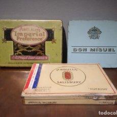 Cajas de Puros: LOTE DE 3 CAJAS TABACO ABDULLA IMPERIAL, ABDULLA SALISBURY Y DON MIGUEL AÑOS 40. Lote 234949385