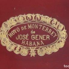 Cajas de Puros: JOSÉ GENER, PUROS HOYO DE MONTERREY. HABANA. HUMIDOR N 1. CAJA MADERA EN PERFECTO ESTADO.. Lote 234940095