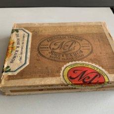 Cajas de Puros: CAJA DE PUROS HABANOS. NEL. RARÍSIMA CAJA DE MADERA. 25 NACIONALES. CUBA. VACÍA. ÚNICA EN TC. Lote 238381680