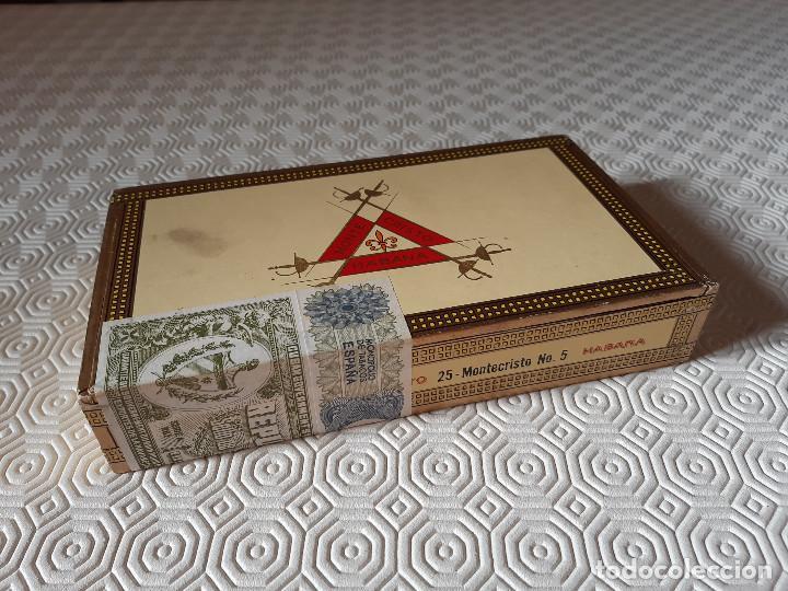 CAJA DE PUROS MONTECRISTO. NUMERO 5 PRECINTADA. CUBATABACO. (Coleccionismo - Objetos para Fumar - Cajas de Puros)
