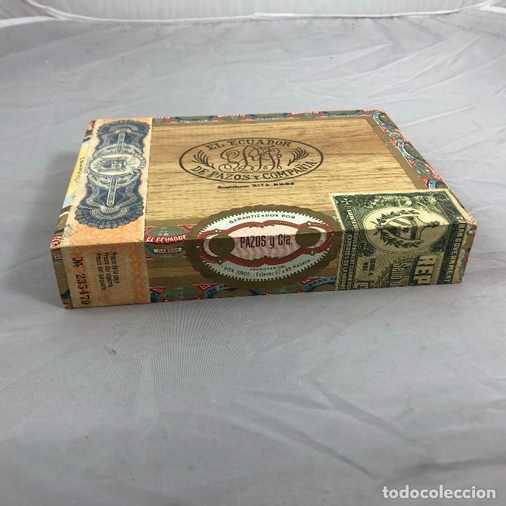 Cajas de Puros: Caja de puros, El ecuador de pazos y compañia. 25 palmitas, precintada sin abrir. - Foto 2 - 253355655
