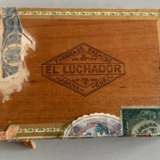 Cajas de Puros: CAJA DE PUROS HABANOS.(VACÍA ) EL LUCHADOR. PRE-EMBARGO. Lote 253634245