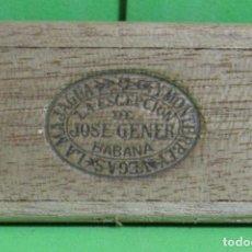 Cajas de Puros: GRAN GENER HECHO EN CUBA ANTIGUA CAJA DE MADERA PARA UN PURO, SELLO DE JOSE GENER GRABADO. Lote 253775025