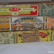Cajas de Puros: PARTAGAS, TROYA Y JOSÉ L. PIEDRA - 3 CAJAS VACÍAS PUROS / RÉGIMEN ANTERIOR - ¡MUY ANTIGUAS, MIRA!. Lote 257804390