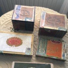 Cajas de Puros: 5 CAJAS ANTIGUAS DE PUROS HABANOS , GENER , ETC ,CUBA. Lote 262196345
