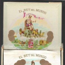 Cajas de Puros: CUBA,-CAJA DE PUROS-EL REY DEL MUNDO- POLIZAS CUBA Y ESPAÑA, PERFECTO ESTADO, VER FOTOS. Lote 263194790