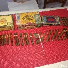 Cajas de Puros: LOTE DE PUROS HABANOS Y CANARIOS - MUY ANTIGUOS - 34 PUROS EN 3 CAJAS - TODO EN LAS IMÁGENES. Lote 263211050