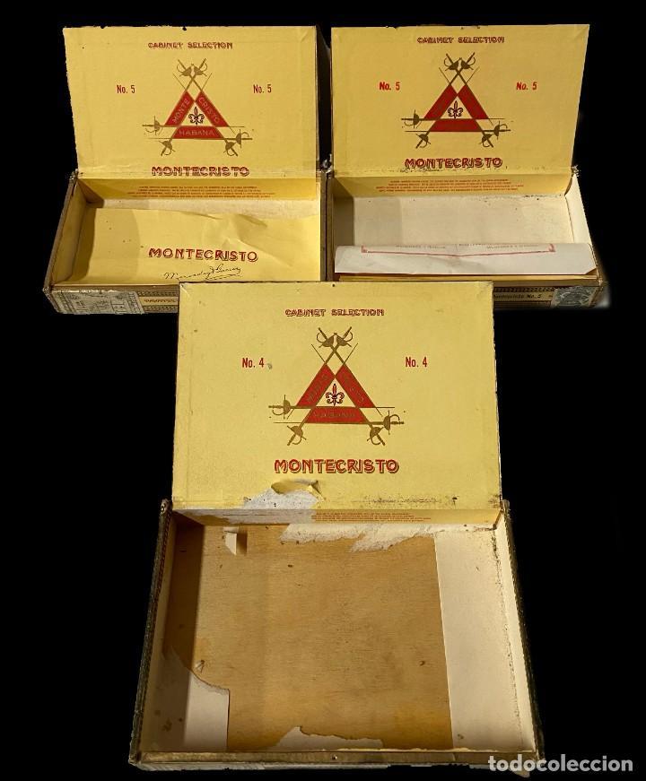 Cajas de Puros: 3 cajas de madera de puros montecristo. nº4 y nº5. Leer - Foto 2 - 265143174