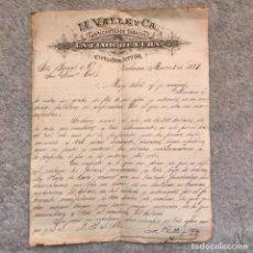 """Cajas de Puros: CARTA FIRMADA POR MANUEL VALLE FUNDADOR DE TABACOS """"LA FLOR DE CUBA"""". 1879. Lote 265963363"""