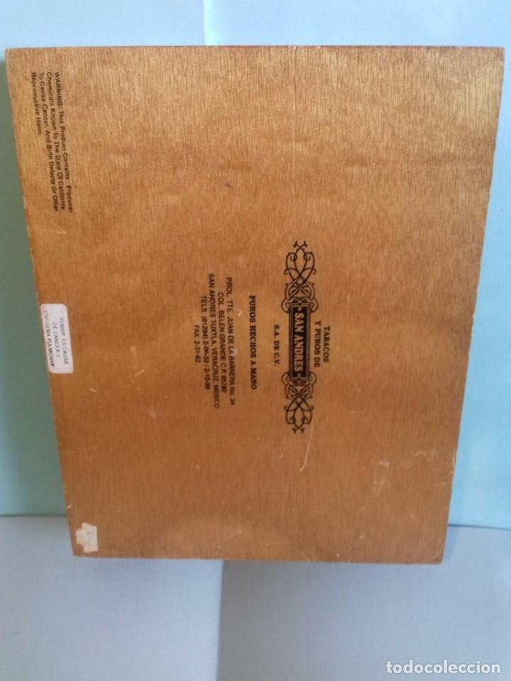 Cajas de Puros: Caja de madera de 25 puros CRUZREAL tabaco de San Andres , Mexico. Se vende VACÍA. 27x21x5 cm - Foto 3 - 266567443