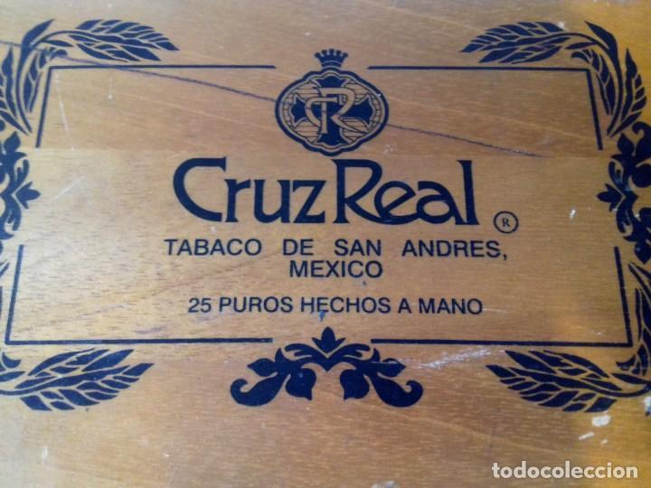 Cajas de Puros: Caja de madera de 25 puros CRUZREAL tabaco de San Andres , Mexico. Se vende VACÍA. 27x21x5 cm - Foto 4 - 266567443