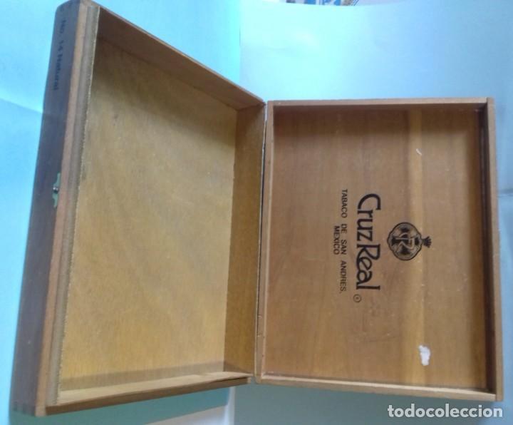 Cajas de Puros: Caja de madera de 25 puros CRUZREAL tabaco de San Andres , Mexico. Se vende VACÍA. 27x21x5 cm - Foto 5 - 266567443