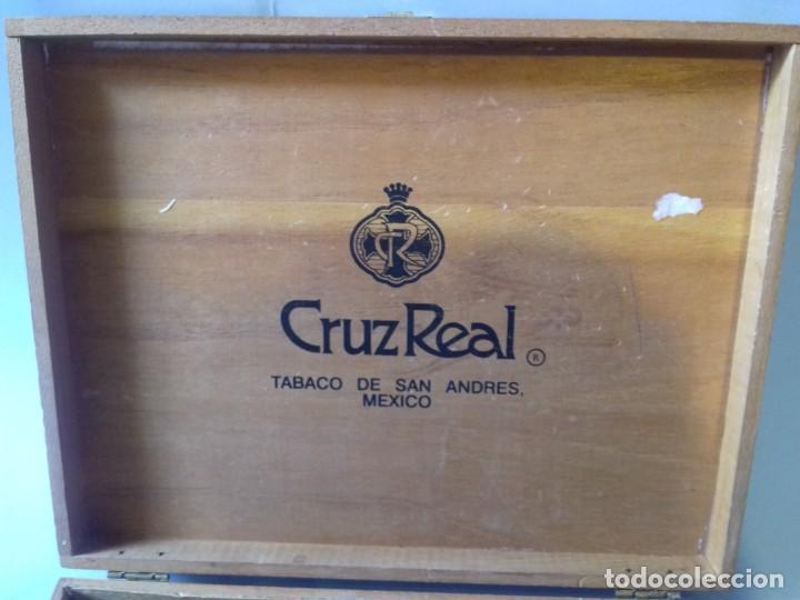 Cajas de Puros: Caja de madera de 25 puros CRUZREAL tabaco de San Andres , Mexico. Se vende VACÍA. 27x21x5 cm - Foto 6 - 266567443