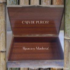 Cajas de Puros: CAJA DE PUROS DE ALPACA CON INTERIOR DE MADERA. Lote 269001019