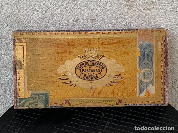 CAJA FLOR TABACOS PARTAGAS Y Cª HABANA CIGARROS PUROS MADE IN HABANA CUBA SERIE L PPIO S XX (Coleccionismo - Objetos para Fumar - Cajas de Puros)