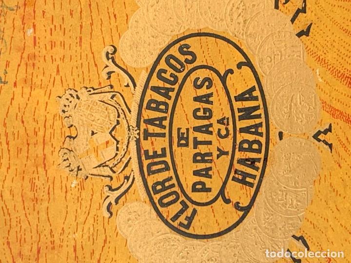 Cajas de Puros: CAJA FLOR TABACOS PARTAGAS Y Cª HABANA CIGARROS PUROS MADE IN HABANA CUBA SERIE L PPIO S XX - Foto 5 - 269104153
