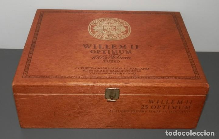 CAJA DE MADERA DE LOS TABACOS WILLEM II OPTIMUN (Coleccionismo - Objetos para Fumar - Cajas de Puros)