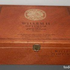 Cajas de Puros: CAJA DE MADERA DE LOS TABACOS WILLEM II OPTIMUN. Lote 269164843