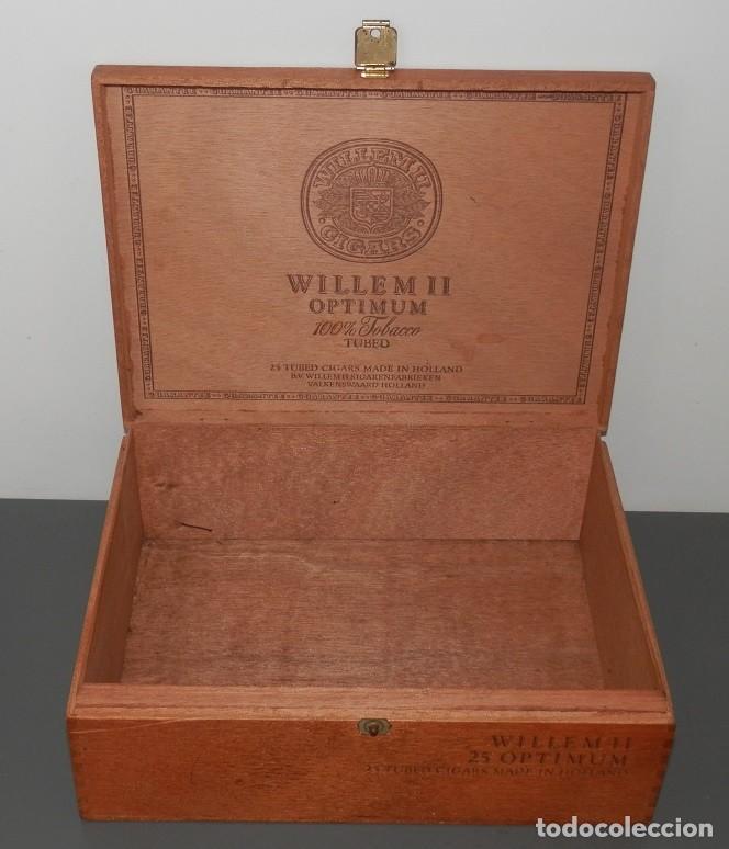 Cajas de Puros: CAJA DE MADERA DE LOS TABACOS WILLEM II OPTIMUN - Foto 2 - 269164843