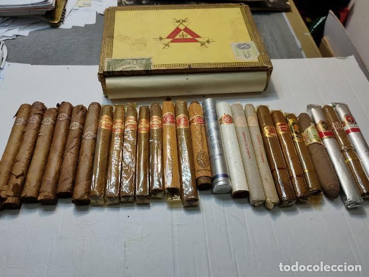CAJA DE PUROS MONTE CRISTO CON 25 PUROS DISTINTAS MARCAS MAYORÍA HABANA (Coleccionismo - Objetos para Fumar - Cajas de Puros)