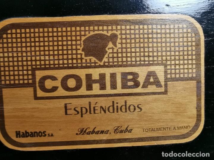 Cajas de Puros: CAJA HUMIDOR COHIBA ESPLENDIDOS HABANA CUBA--CON 4 PUROS- AÑOS 70 - Foto 25 - 277829003