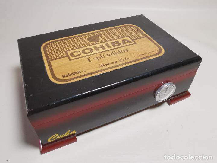 CAJA HUMIDOR COHIBA ESPLENDIDOS HABANA CUBA--CON 4 PUROS- AÑOS 70 (Coleccionismo - Objetos para Fumar - Cajas de Puros)