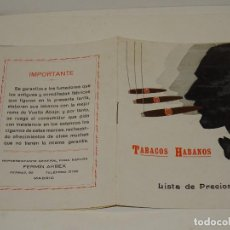 Cajas de Puros: CATALOGO TABACOS HABANOS - LISTA DE PRECIOS , HABANA, PARTAGAS, RAMÓN ALLONES, MODELO DE CUBA,. Lote 287788988