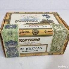 Cajas de Puros: ANTIGUA CAJA DE PUROS QUINTERO 25 BREVAS HABANA CUBA SIN ABRIR. Lote 289270458