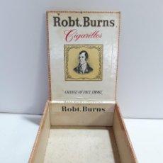 """Cajas de Puros: ROBT. BURNS, 50 CIGARILLOS. """"CHANGE OF PACE SMOKE"""". CAJA VACÍA. Lote 290187293"""
