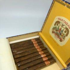 Cajas de Puros: PARTAGAS 25 SÚPER PARTAGAS CELLOPHANE HABANA CUBA CAJA ABIERTA CON 9 PUROS. Lote 292375788