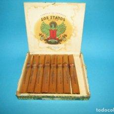 Cajas de Puros: ANTIGUA CAJA CON 8 PUROS SELECTOS * LOS STATOS * DE MARTÍNEZ HNO. Y CIA. CUBA HABANA. Lote 295684143