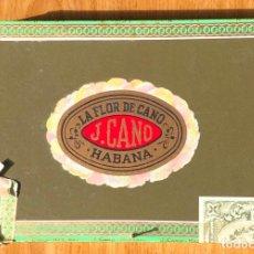 Cajas de Puros: CAJA DE PUROS CON CINCO PUROS - LA FLOR DE CANO - HABANOS, CUBA. Lote 297027268